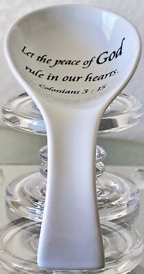 COVENTRY DAILY BLESSINGS SPOON REST COLOSSIANS 3:15 PORCELAIN WHITE BLACK NEW