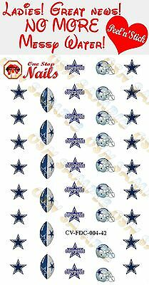 Dallas Cowboys Clear Vinyl PEEL and STICK (NOT Waterslide) nail decals/stickers