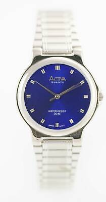 Activa Watch Men Stainless Steel Silver Water Resistant 30m Battery Blue Quartz