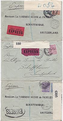 * 1916/18 3 DIFF STAMPED EXPRESS COVERS PERFIN LONDON > SWITZERLAND CENSORED WW1