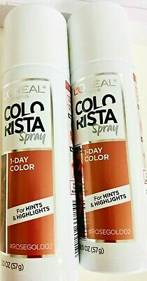 Gold Hair Spray (Set of 2 Bottles L'OREAL Paris Color Colorista 1 Day Hair Spray - Rose gold)