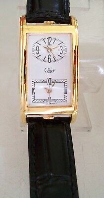 Women Dual Time Zone Watch (WOMEN'S BLACK WITH GOLD FINISH DUAL TIME 2 TIME ZONE FASHION DRESSY/CASUAL)