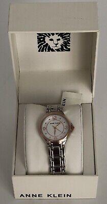 Anne Klein AK/2959SVRT Women's Silver Rose Gold Two-Tone Bracelet Watch MSRP $65