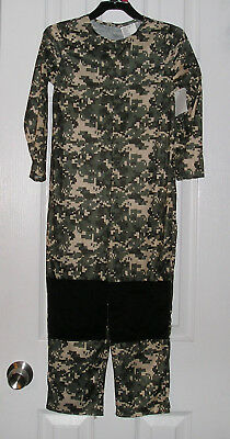 Halloween Costume Boys Size S 4/6, Beige Army Green Camo