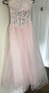 Corseted prom dress in light pink