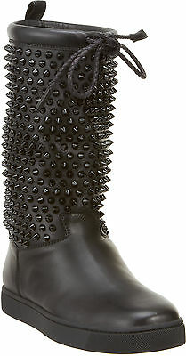 100% AUTH NEW WOMEN LOUBOUTIN SURLAPONY FLAT BLACK SPIKE  BOOTS US 7.5