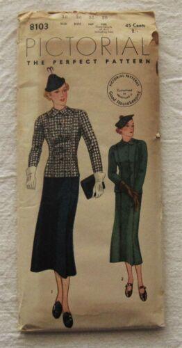 Vintage Sewing Pattern*Pictorial Review 8103*UNCUT*Sz 12*1930s*jacket skirt hat