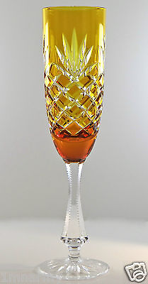 FABERGE ODESSA CHAMPAGNE FLUTE GLASS, AMBER GOLD CASED CRYSTAL SIGNED