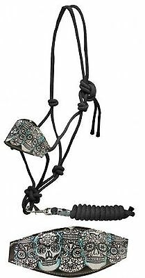 SUGAR SKULL Leather Noseband Horse Size Black Nylon Rope Halter NEW Horse Tack