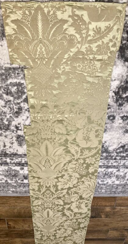 """19th C Antique French Silk Satin Remnant 17""""x77"""" Museum Deaccession"""