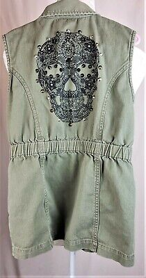 Khaki Dress Sugar Skull Girls Medium Sleeveless Studs Button-Up Unicorn Mermaid