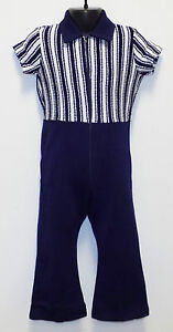 VINTAGE-1970s-UNWORN-CHILDRENS-MOTHERCARE-PLAYSUIT-NAVY-BLUE-WHITE-3-4-YEARS