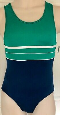 GK COMPETITION SHIRT ADULT SMALL GREEN NAVY GYMNASTS TRADITIONAL LEG CUT AS NWT!