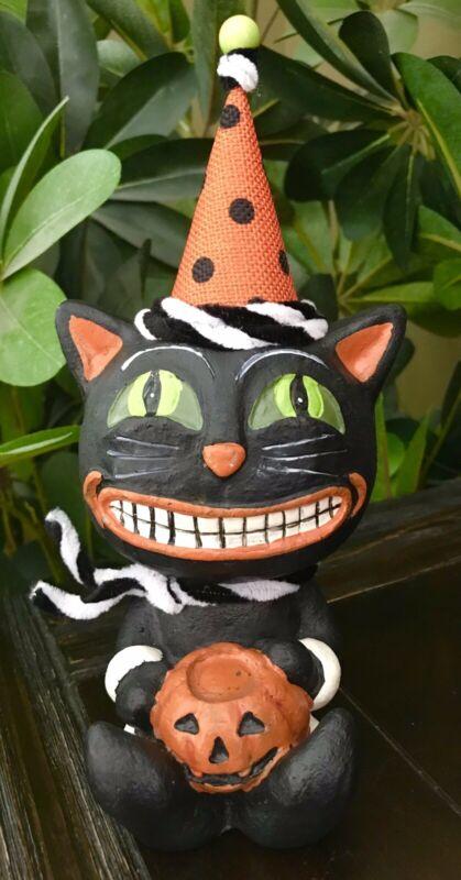 BRAND NEW PRIMITIVE HALLOWEEN BLACK CAT WITH PUMPKIN TABLE DECOR FIGURINE