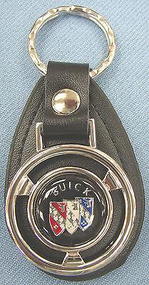 Vintage Black BUICK Tri Shield Mini Steering Wheel Black Leather Keyring Fob