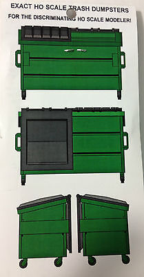 Hi-Tech Details Green Trash Dumpsters Pack of 3 Kit 1/87 HO Scale NEW #8002 on Rummage