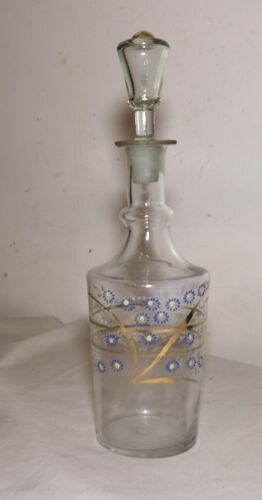 antique hand blown 18th century painted enameled glass liquor decanter bottle