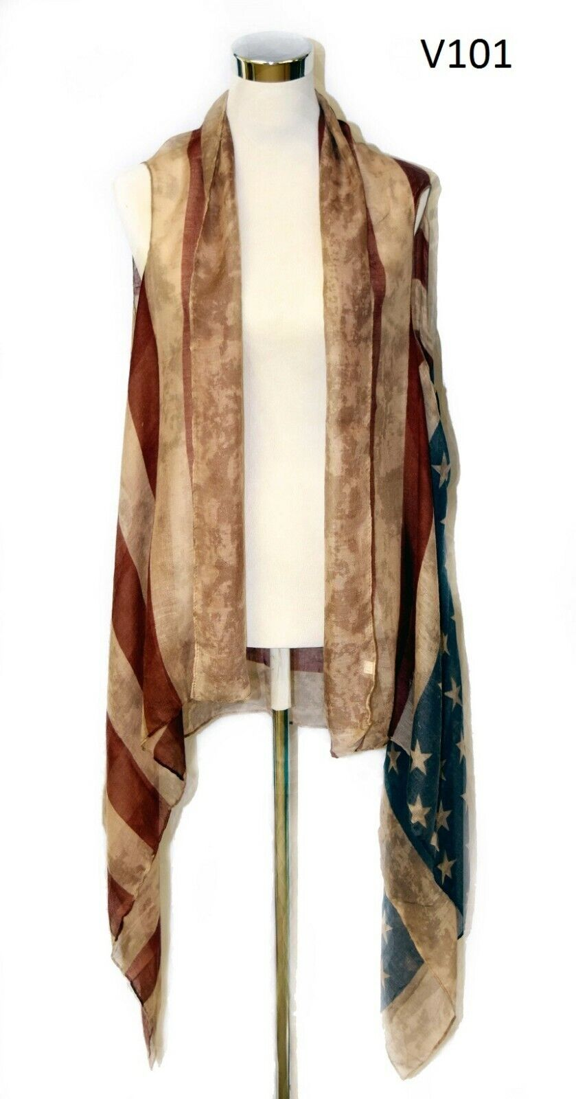 American Flag Vest, scarf vest.cover up. Patriotic.