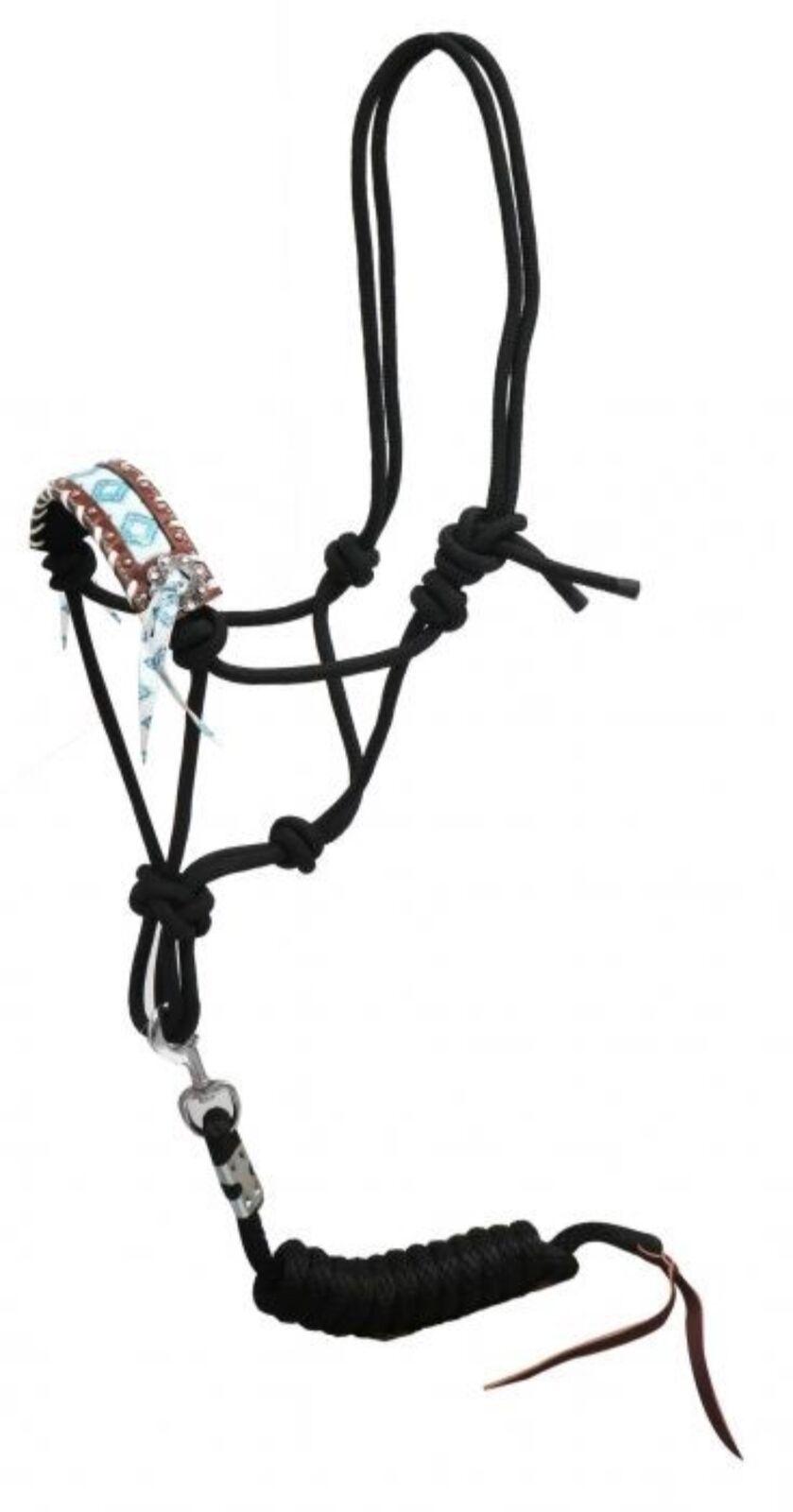 NEW HORSE TACK! Showman Leather Nose Roper Halter W// BROWN /& TEAL Navajo Design