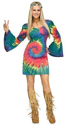 Halloween M&m Kostüm (Groovy Gal Tye Dye Women's Costume Swirl Hippie 60s 70s Halloween Adult S/M-M/L)