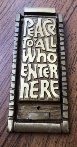 Vintage Terra Sancta Guild 1969 Brass Doorknocker Peace To All Who Enter Here
