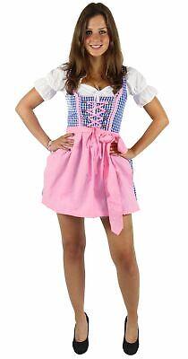 Dirndl für Damen Trachtenkleid Kleid mit Bluse Schürze blau weiß rosa Gr. - Blau Schürze Kostüm