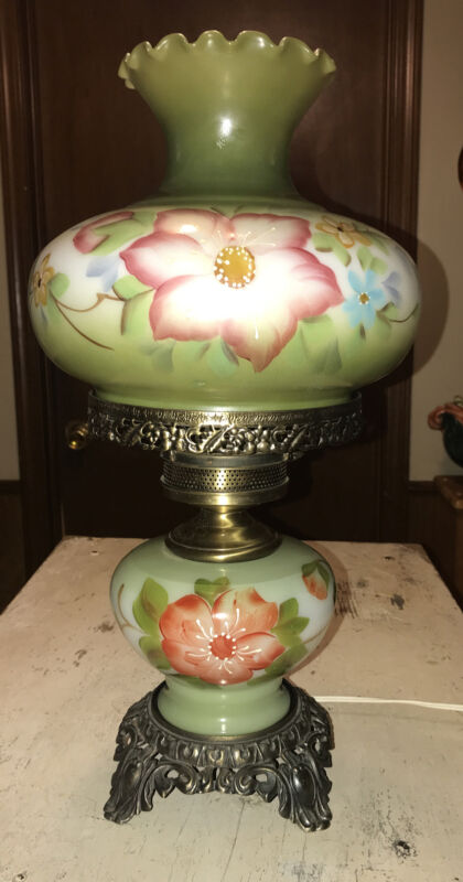 "Vintage Hand Painted 3-Way Elec 19"" Hurricane Lamp"