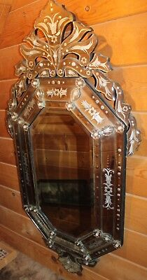 """Vintage STUNNING 53 3/4"""" tall x 28"""" wide VENETIAN ETCH ENGRAVE MURANO Mirror"""