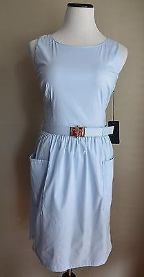 New NWT Prada Sport Aqua Baby Blue Logo Belted Poplin Day Dress US 4 6 / IT 42
