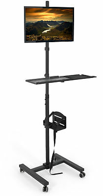 Vivo Computer Mobile Cart Rolling Stand Monitor Mount Case Holder Keyboard Tray