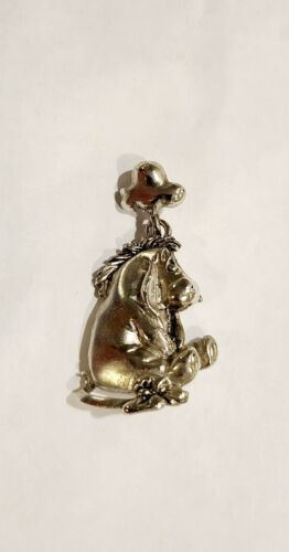 Disney Eeyore Silver Tone  Necklace Pendant Charm. Signed