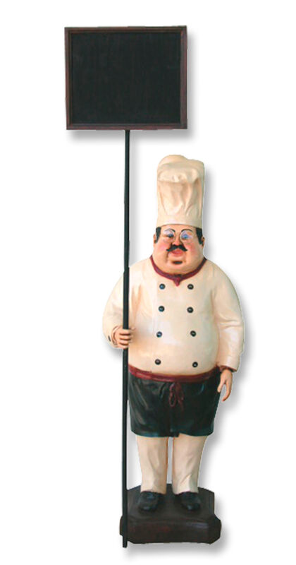 Chef Statue - Cook Statue - Restaurant - Chef Statue with Menu Sign 3 FT