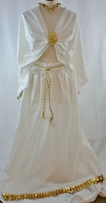 Greek And Roman Goddesses (Goddess Greek Toga Roman Dance Halloween Party COSTUME White and Gold Size M)