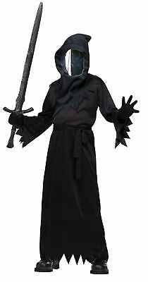 Haunted Mirror Ghoul Child Black Costume Hooded Robe Mirror Front Mask Halloween](Mirror Mask Halloween Costume)