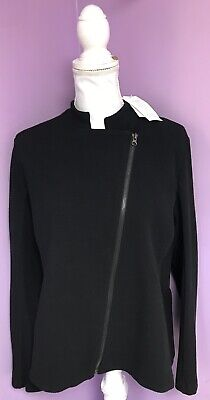 Eileen Fisher Black Zip Up Stretch Jacket Size LARGE NWT