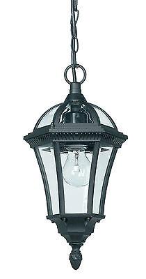 Endon IP44 Drayton outdoor pendant light IP44 60W Textured black & clear glass Energy Saving Outdoor Pendant