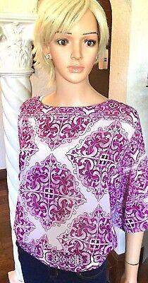 Alfani M New Chiffon Blouse Pink Printed  Bubble Hem Summer Top $69 NWT