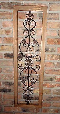 Wood Frame Metal Wall Decor Fleur De Lis Oak Color Wood Decor Shabby Cottage ()