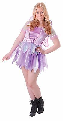 Teen & Older Girls Lilac Fairy With Wings Fancy Dress Costume Outfit...