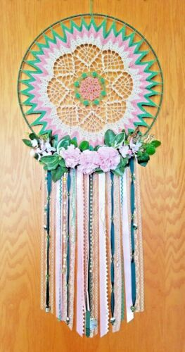"""Beaded Dream Catcher - Large Pink & Green, Floral & Lace, 19"""" x 42"""" - Original"""