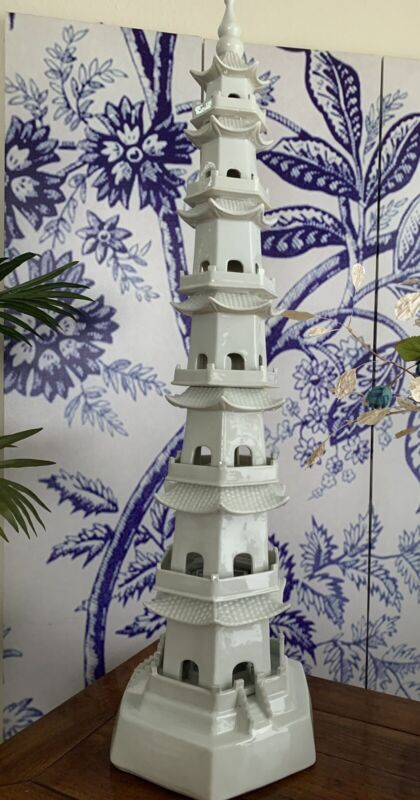 White Porcelain Pagoda 47 Inches Tall