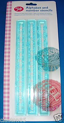 TALA UPPER CASE ALPHABET & NUMBER STENCIL CUTTERS FONDANT CAKE DECORATING EMBOSS