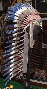#1615 Quality Long Native American Chief Indian headdress feather war bonnet 1sz