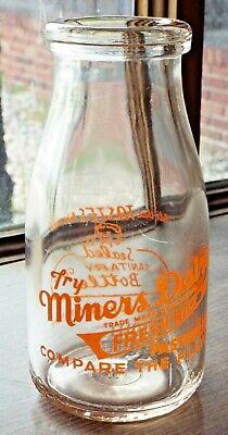 Vintage MINER'S DAIRY Butte, Montana Half Pint Glass MILK BOTTLE Advertising