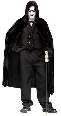 Black Velvet Cape Hooded Evil Reaper Costume Count Mens Adult Vampire 68