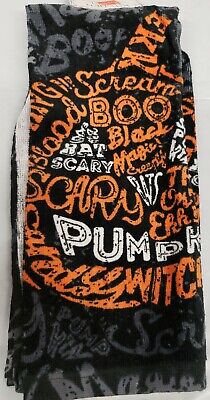 15 Halloween Words (1 PRINTED KITCHEN TOWEL, (15