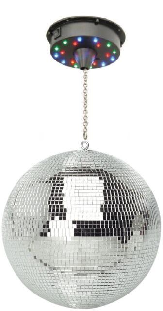 """200mm / 8"""" DJ Disco Rotating Mirror Ball & Ceiling Mount Motor with 18 LED's"""