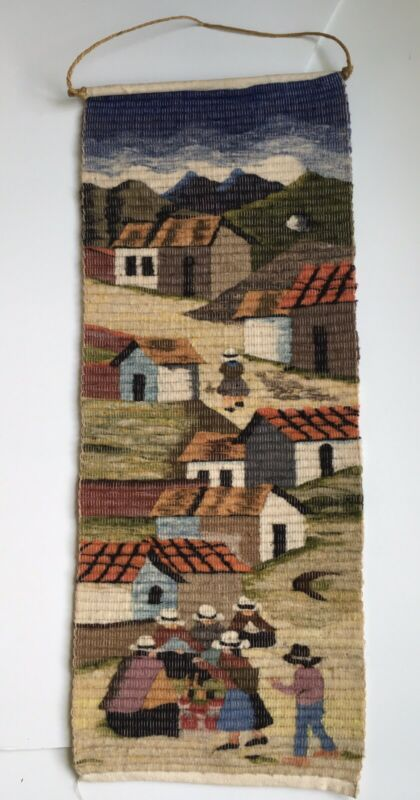 vintage Peruvian handwoven wool Tapestry wall hanging village scene AWAOKUNA
