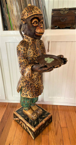 "Vintage Monkey Chimpanzee Butler Animal Prop Decor Resin Statue - 40"""