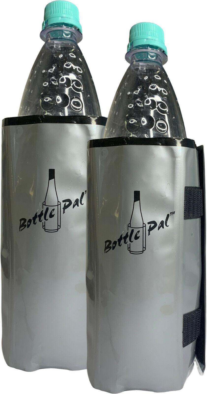 2x Flaschenkühler Kühlmanschette -Klettverschluss zum Kühlen von Flaschen Grau